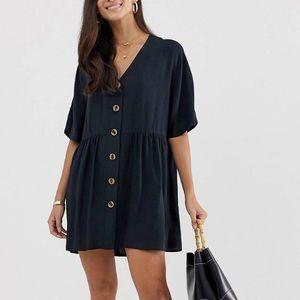 ASOS Design V Neck Button Smock Dress